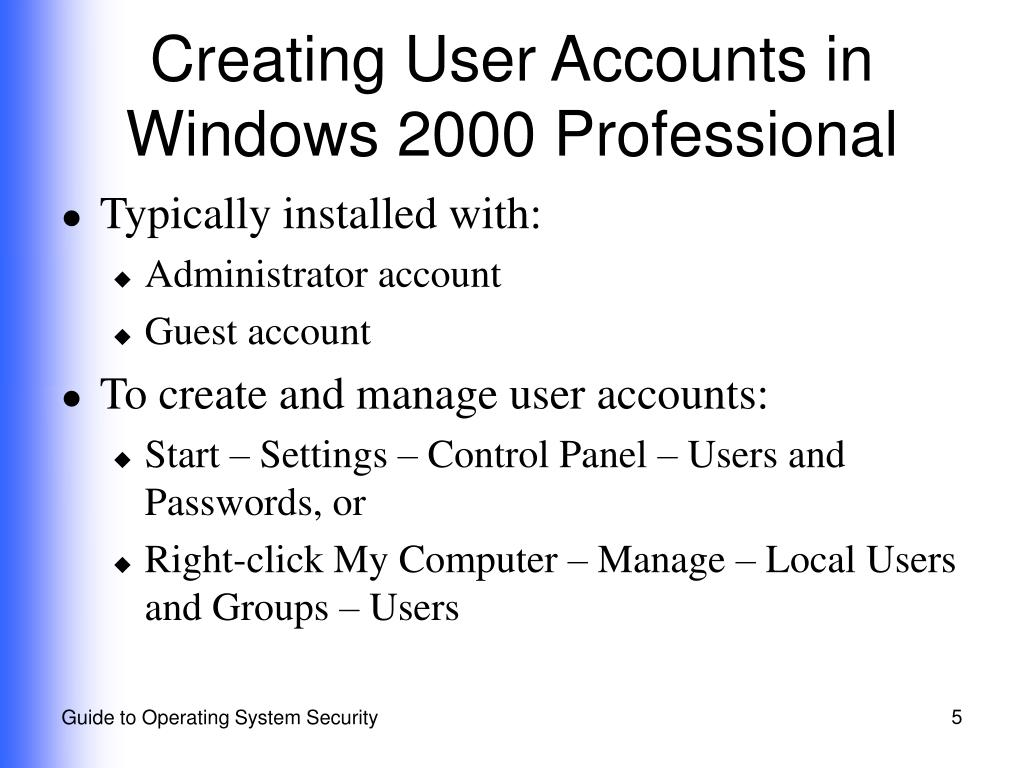 Creating User Accounts in Windows 2000 Professional