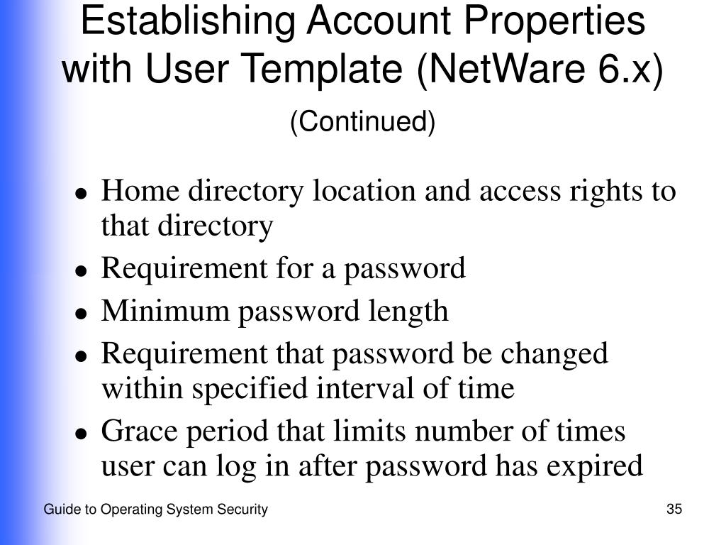 Establishing Account Properties with User Template (NetWare 6.x)
