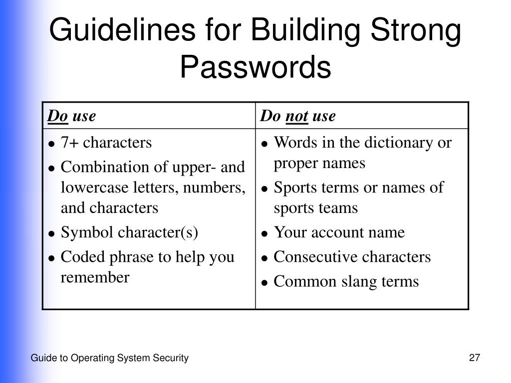 Guidelines for Building Strong Passwords