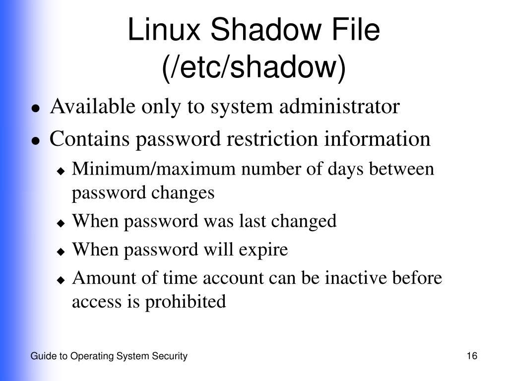 Linux Shadow File (/etc/shadow)