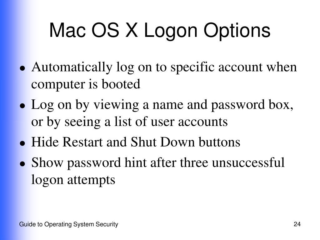 Mac OS X Logon Options