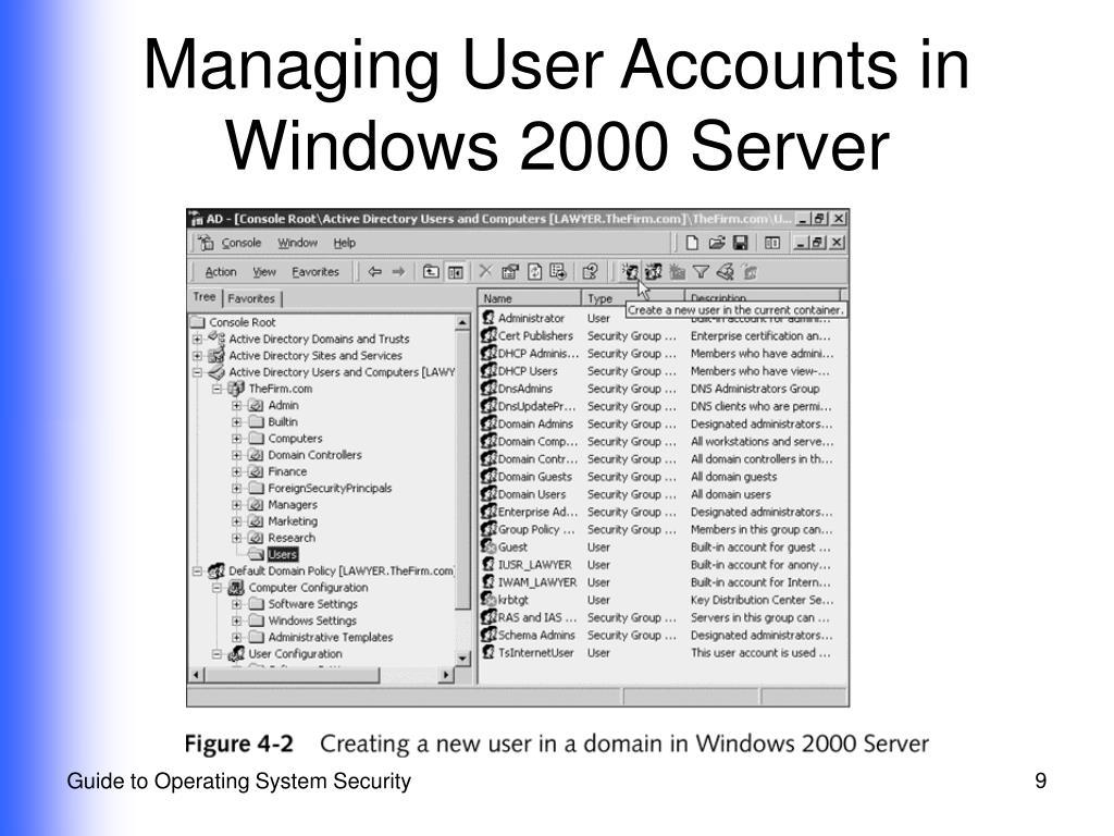 Managing User Accounts in Windows 2000 Server