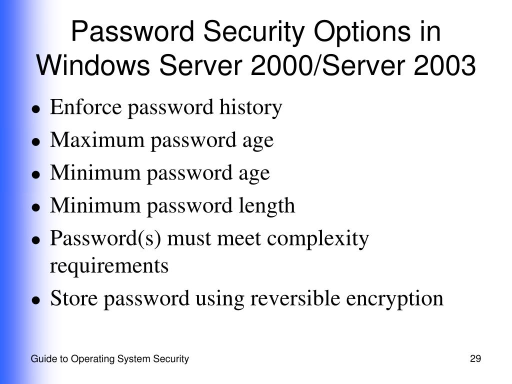 Password Security Options in Windows Server 2000/Server 2003