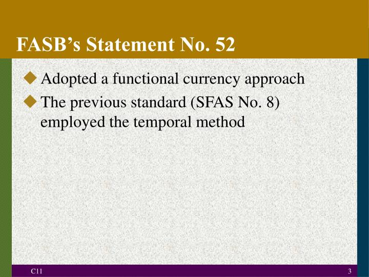 Fasb s statement no 52