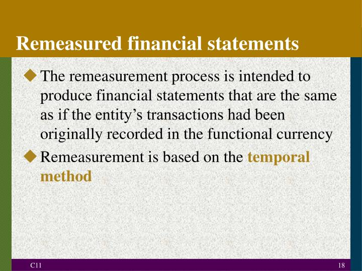 Remeasured financial statements