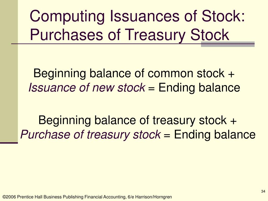 Computing Issuances of Stock: Purchases of Treasury Stock
