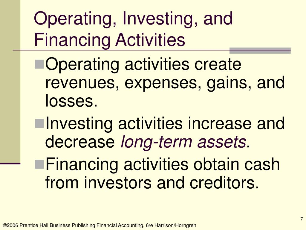 Operating, Investing, and Financing Activities