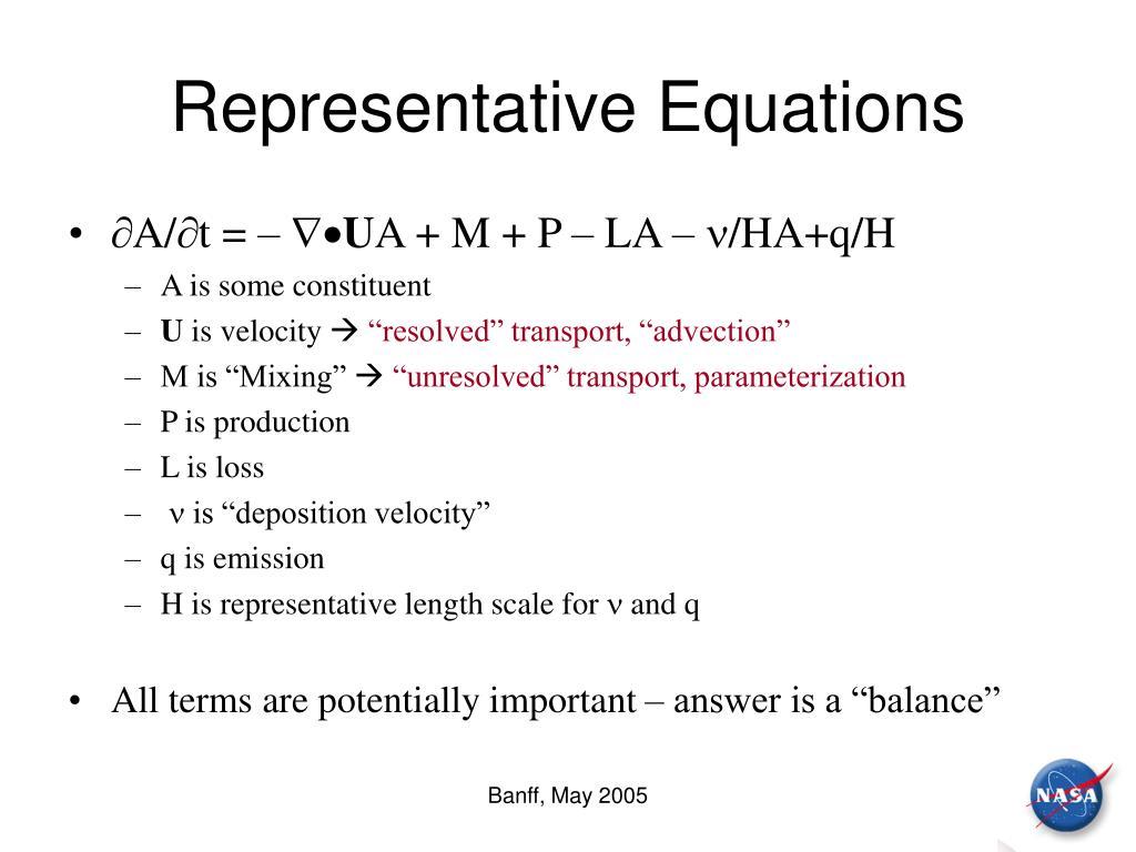 Representative Equations