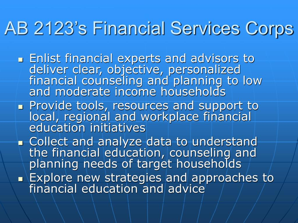AB 2123's Financial Services Corps