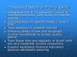 financial education policy ideas