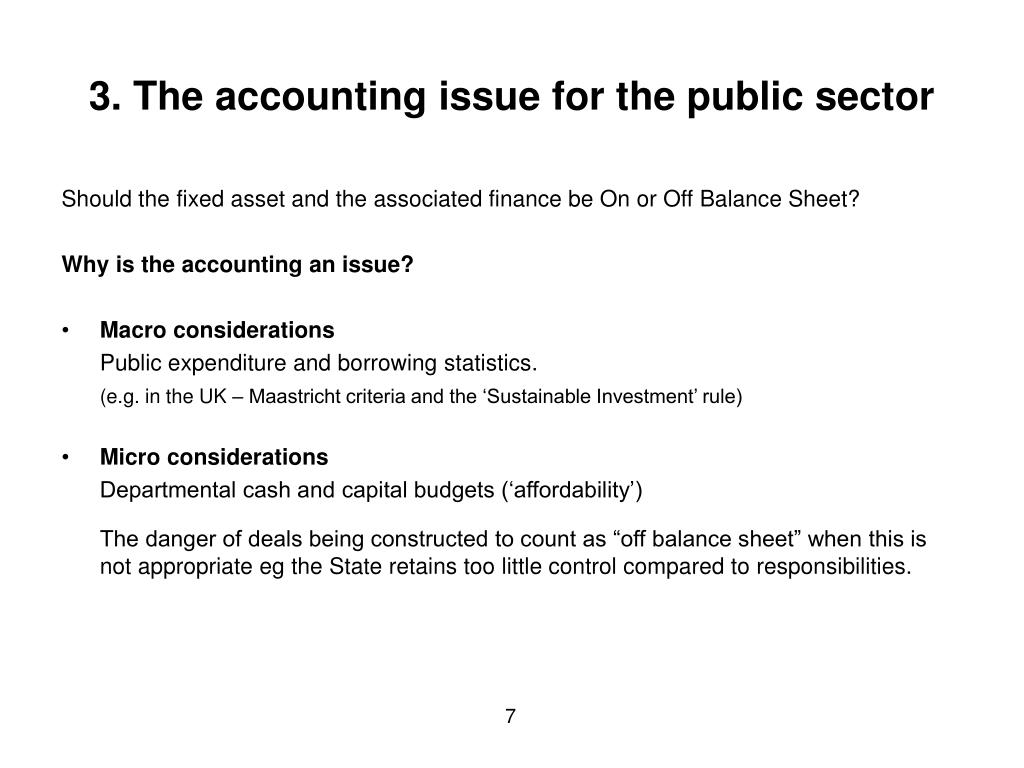 3. The accounting issue for the public sector
