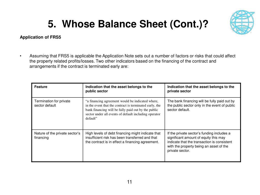 5.  Whose Balance Sheet (Cont.)?
