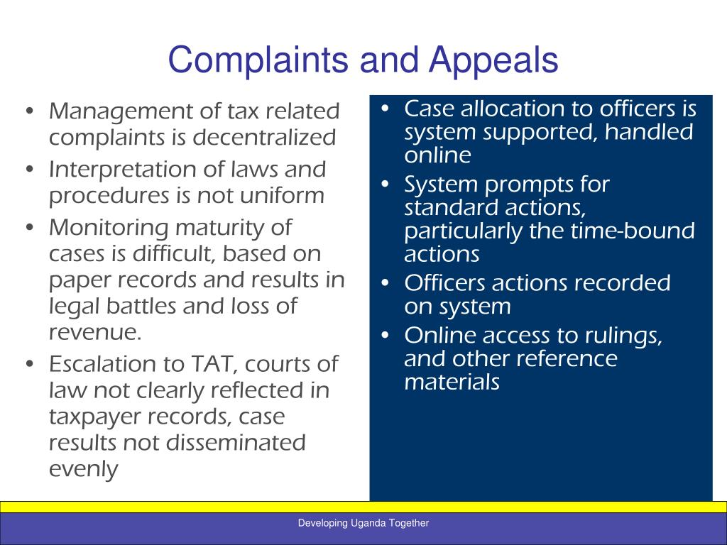 Management of tax related complaints is decentralized