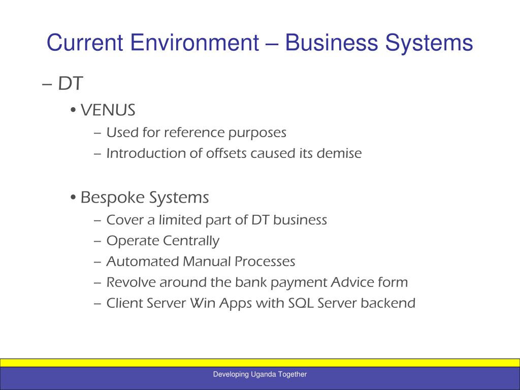 Current Environment – Business Systems