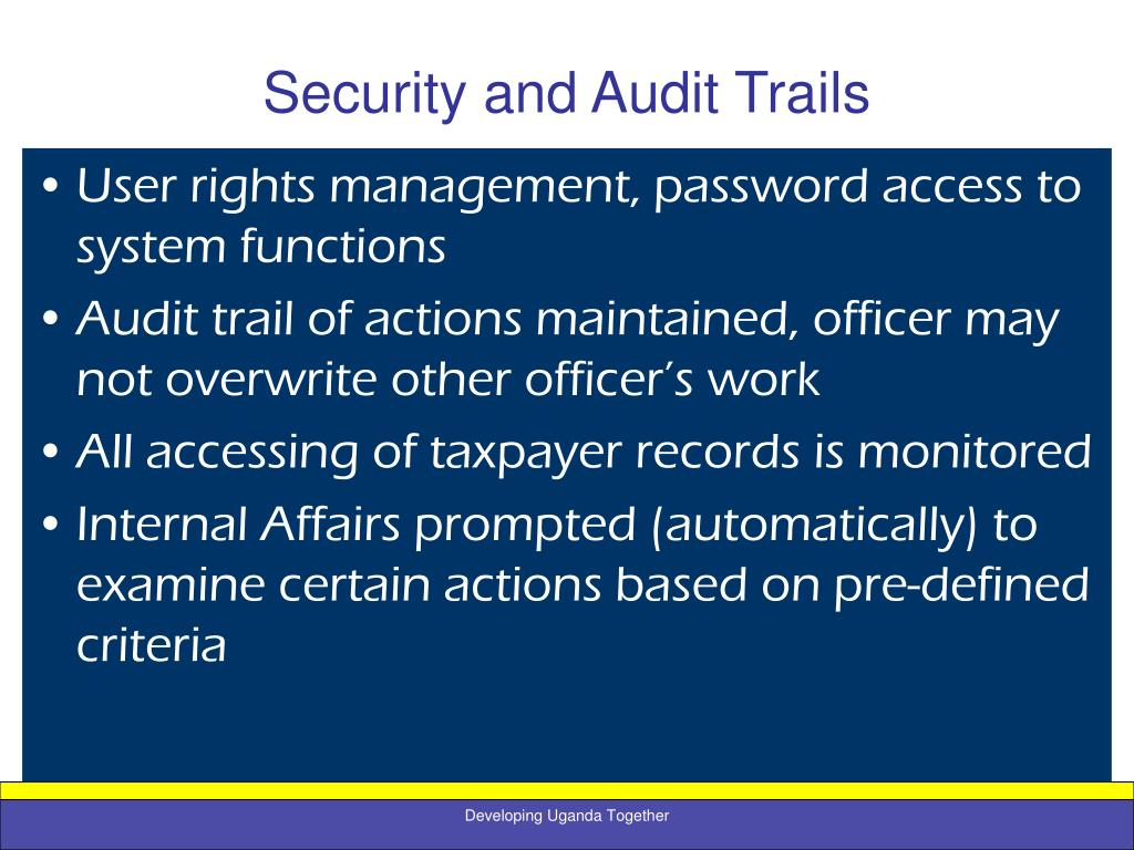 Security and Audit Trails