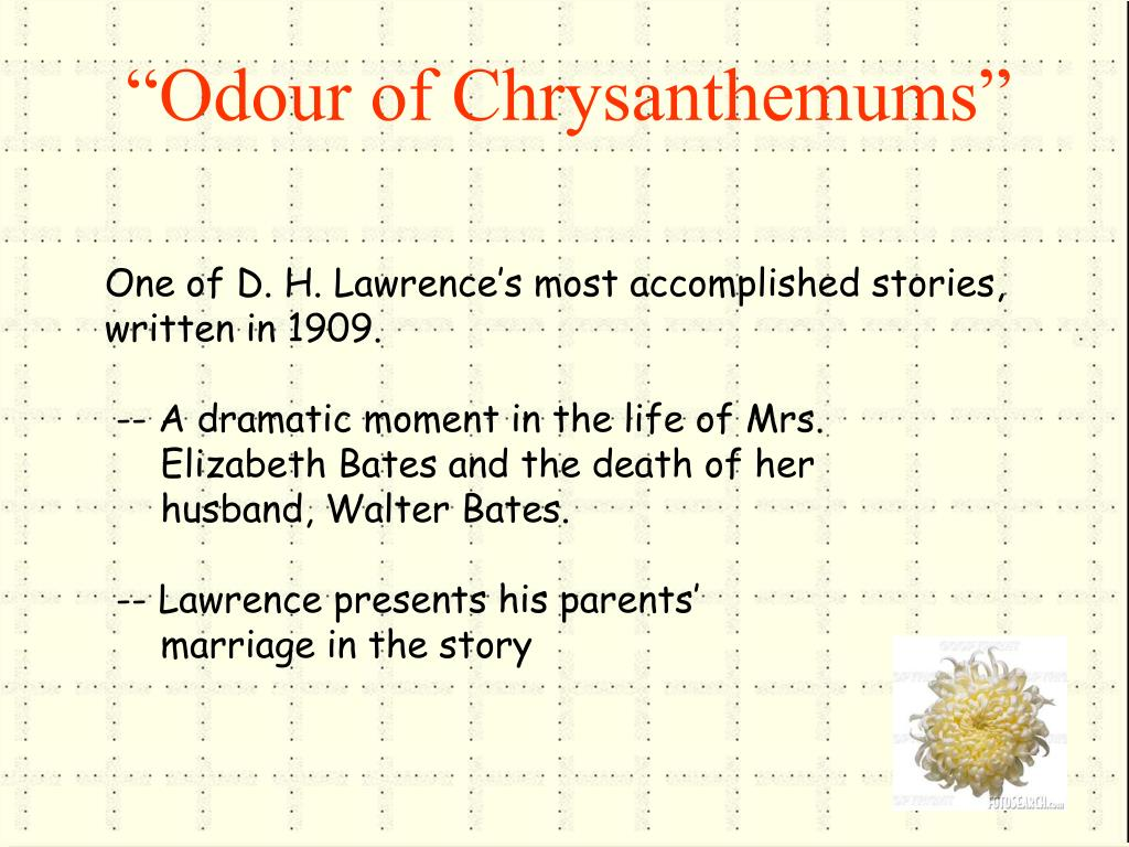 lawrences presentation of elizabeth bates in odour of chrysanthemums essay The odour of chrysanthemums is a renowned short story written by dhlawrence the novel pictures the life of walter bates, living in a mining district during the early twentieth century.