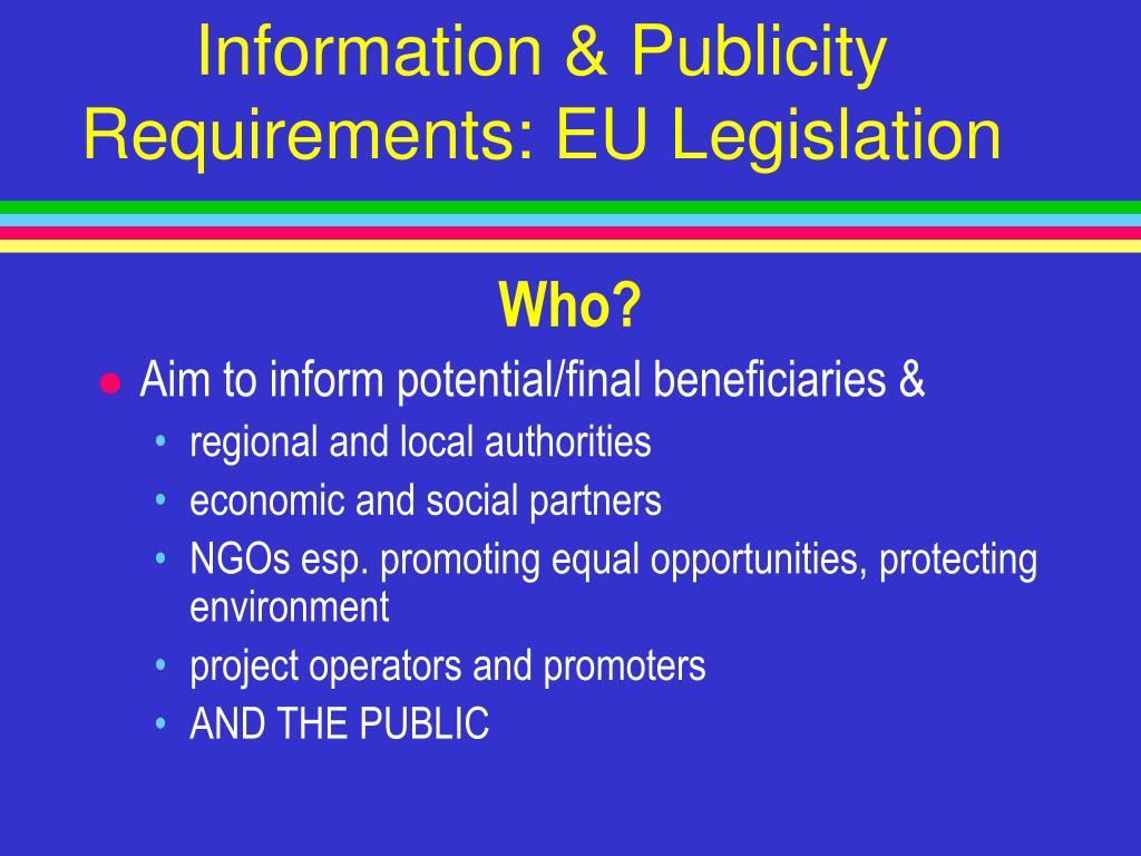 Information & Publicity Requirements: EU Legislation