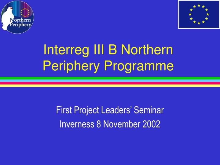 Interreg iii b northern periphery programme