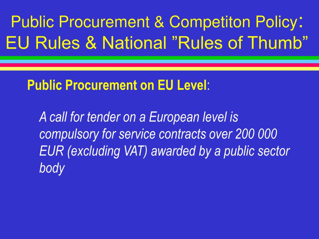 Public Procurement & Competiton Policy