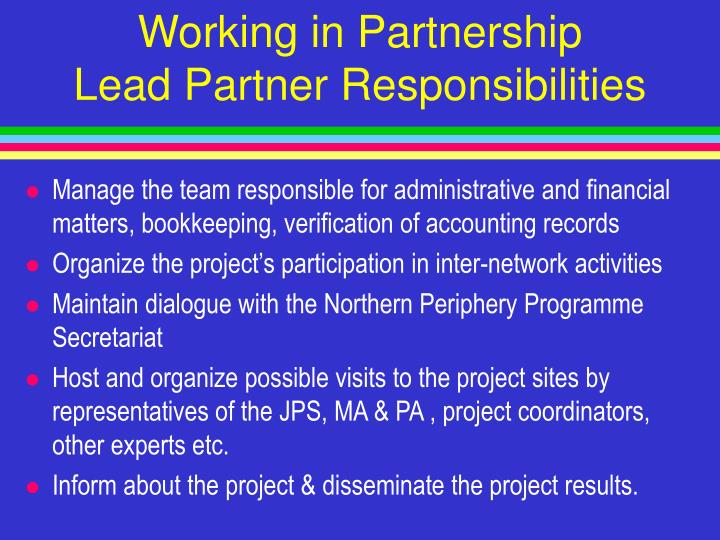 Working in partnership lead partner responsibilities3