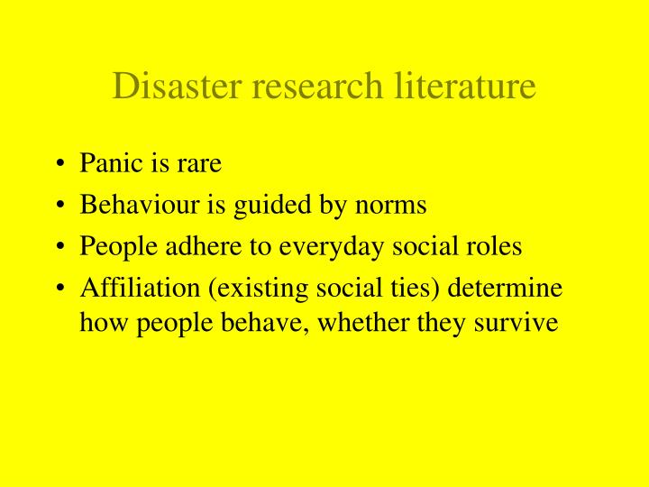 Disaster research literature