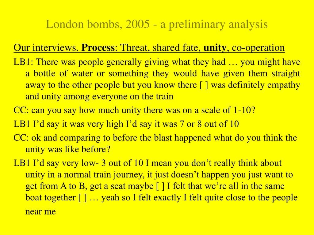 London bombs, 2005 - a preliminary analysis