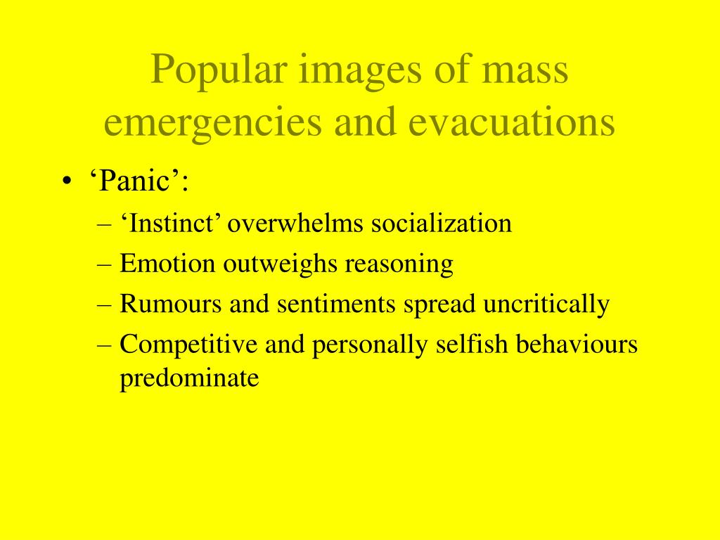 Popular images of mass emergencies and evacuations