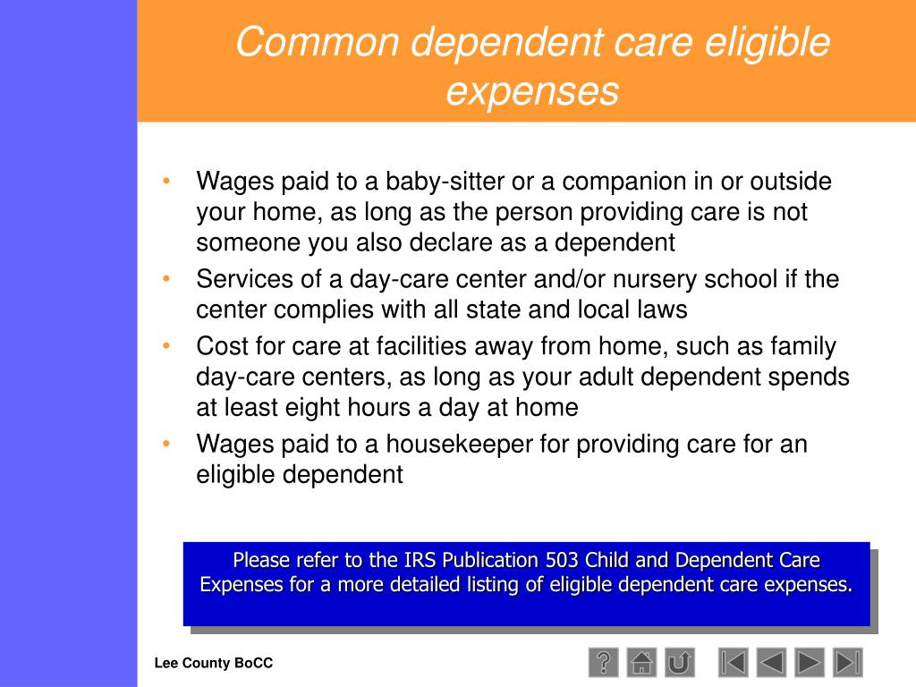 Common dependent care eligible expenses