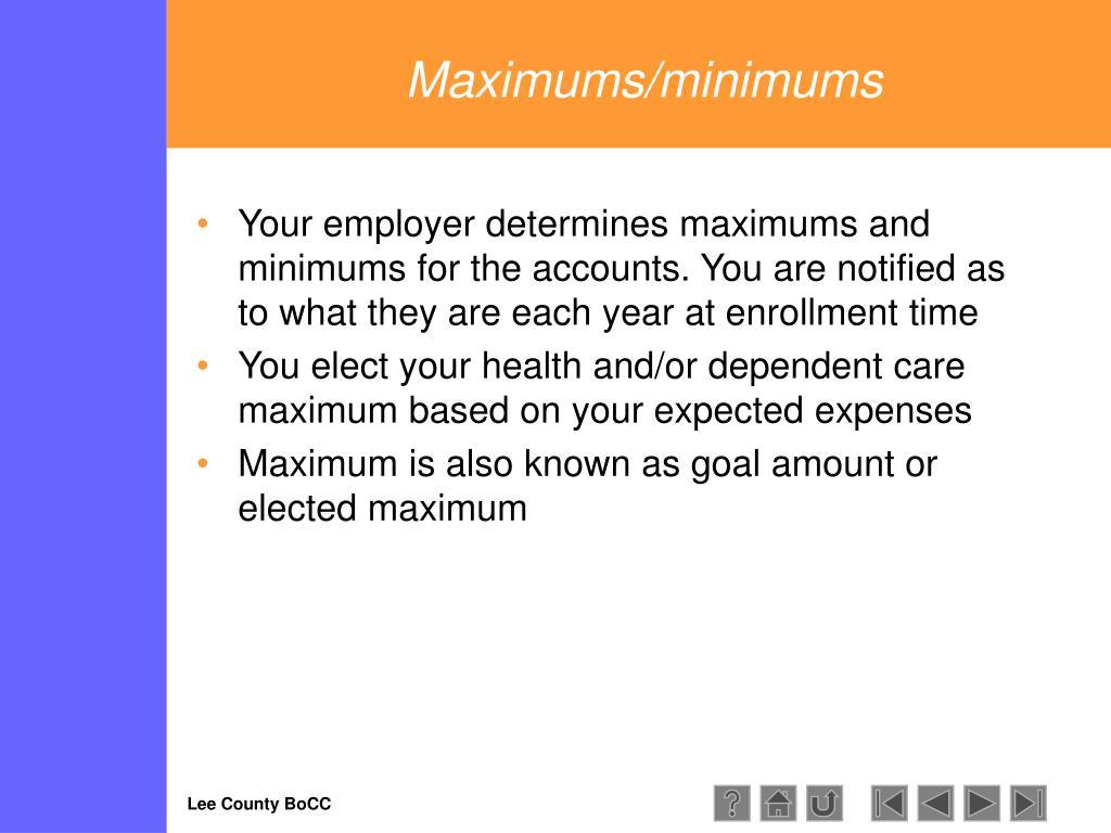 Maximums/minimums
