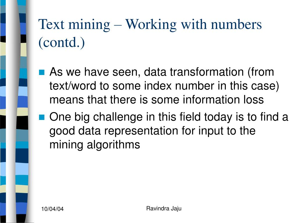 Text mining – Working with numbers (contd.)