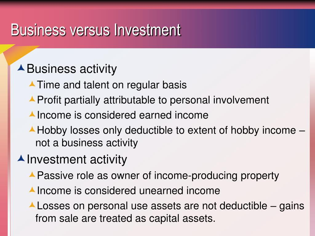 Business versus Investment