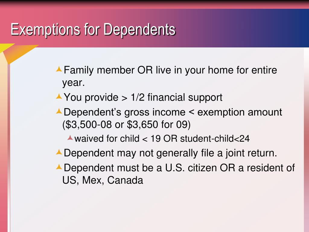 Exemptions for Dependents