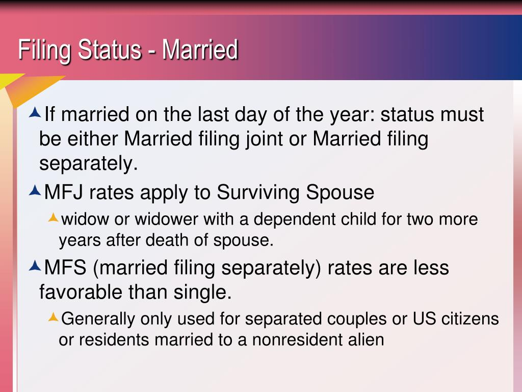 Filing Status - Married