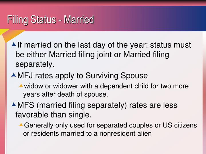 Filing status married
