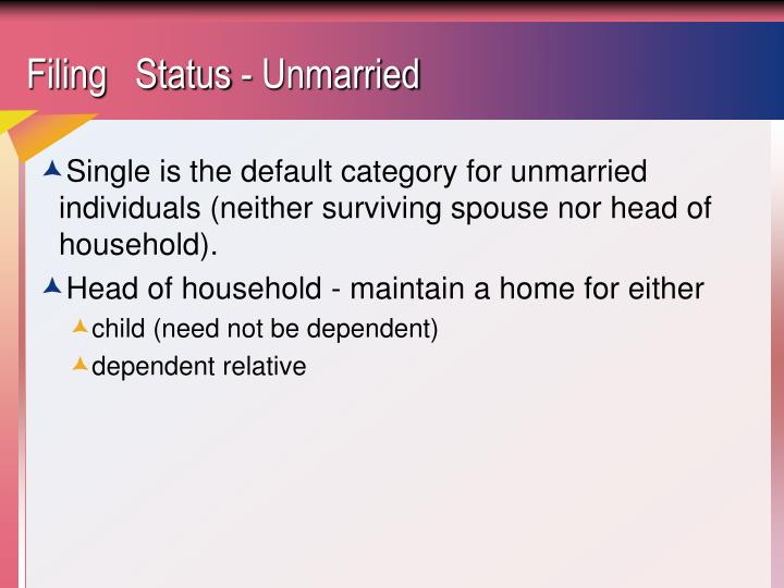 Filing status unmarried
