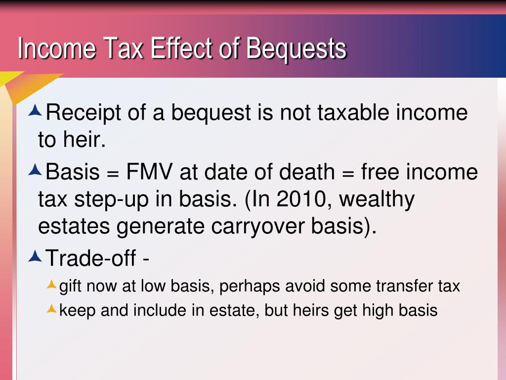 Income Tax Effect of Bequests