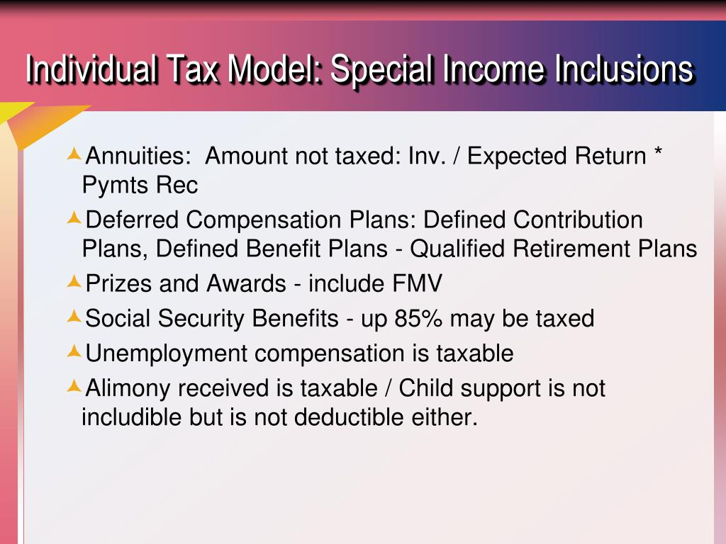 Individual Tax Model: Special Income Inclusions