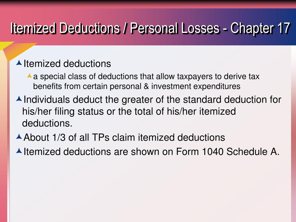 Itemized Deductions / Personal Losses - Chapter 17