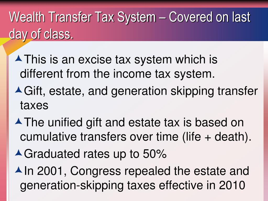 Wealth Transfer Tax System – Covered on last day of class.