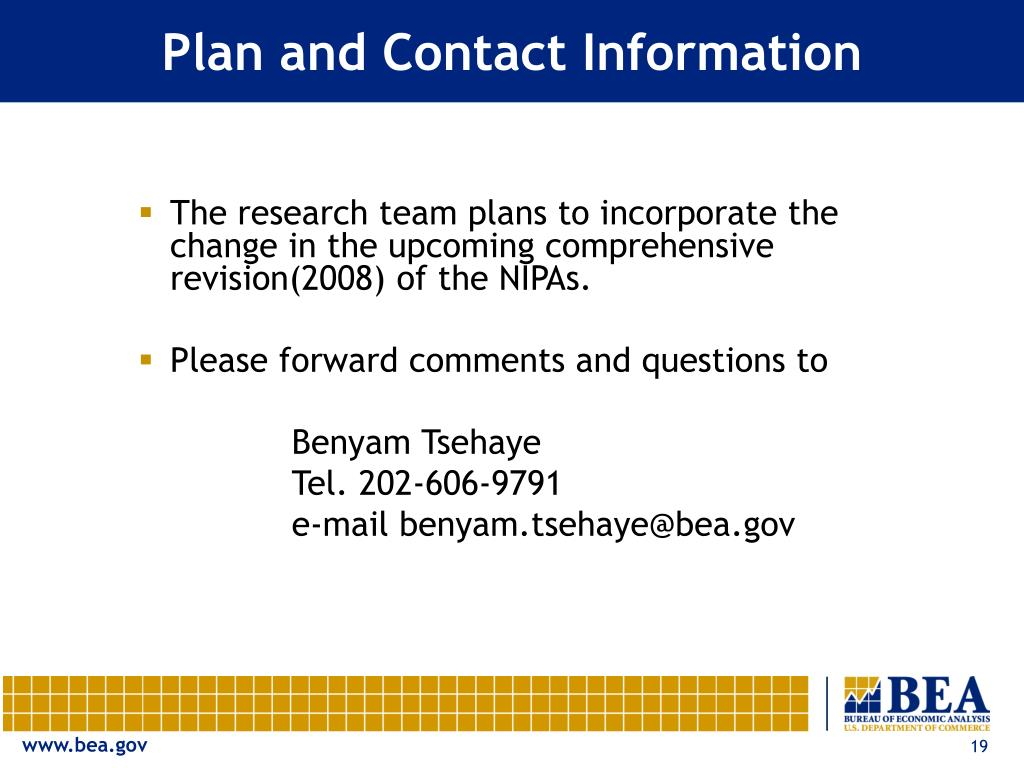 Plan and Contact Information