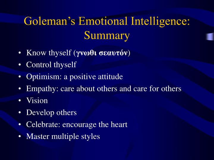 Goleman's Emotional Intelligence: Summary