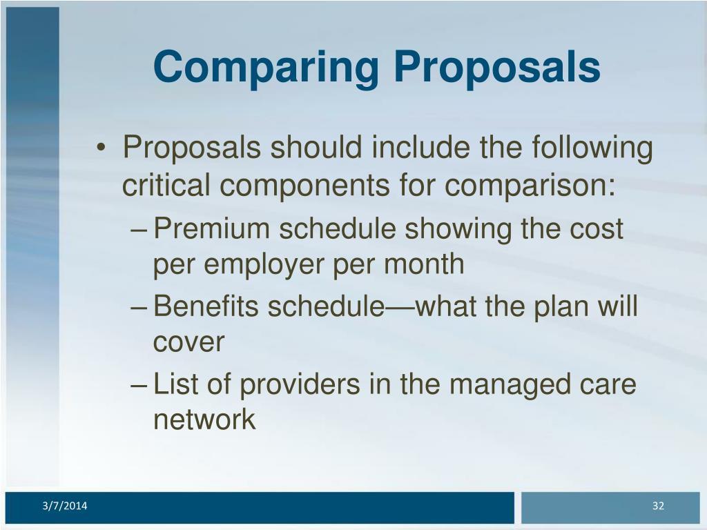 Comparing Proposals