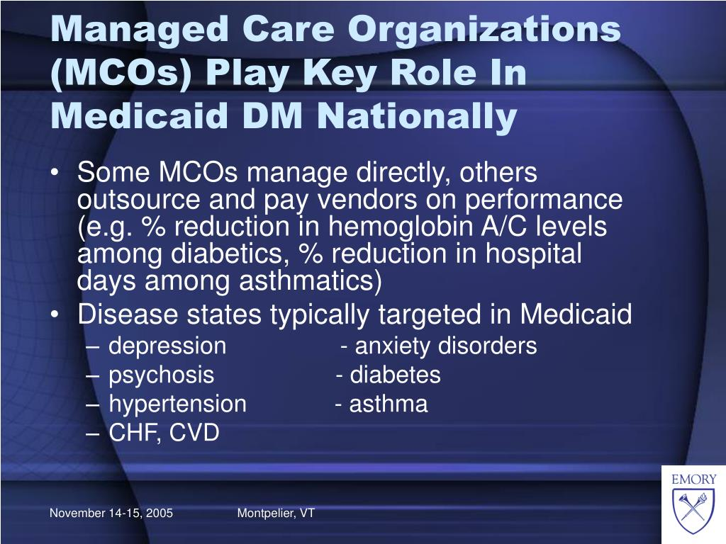Managed Care Organizations (MCOs) Play Key Role In Medicaid DM Nationally