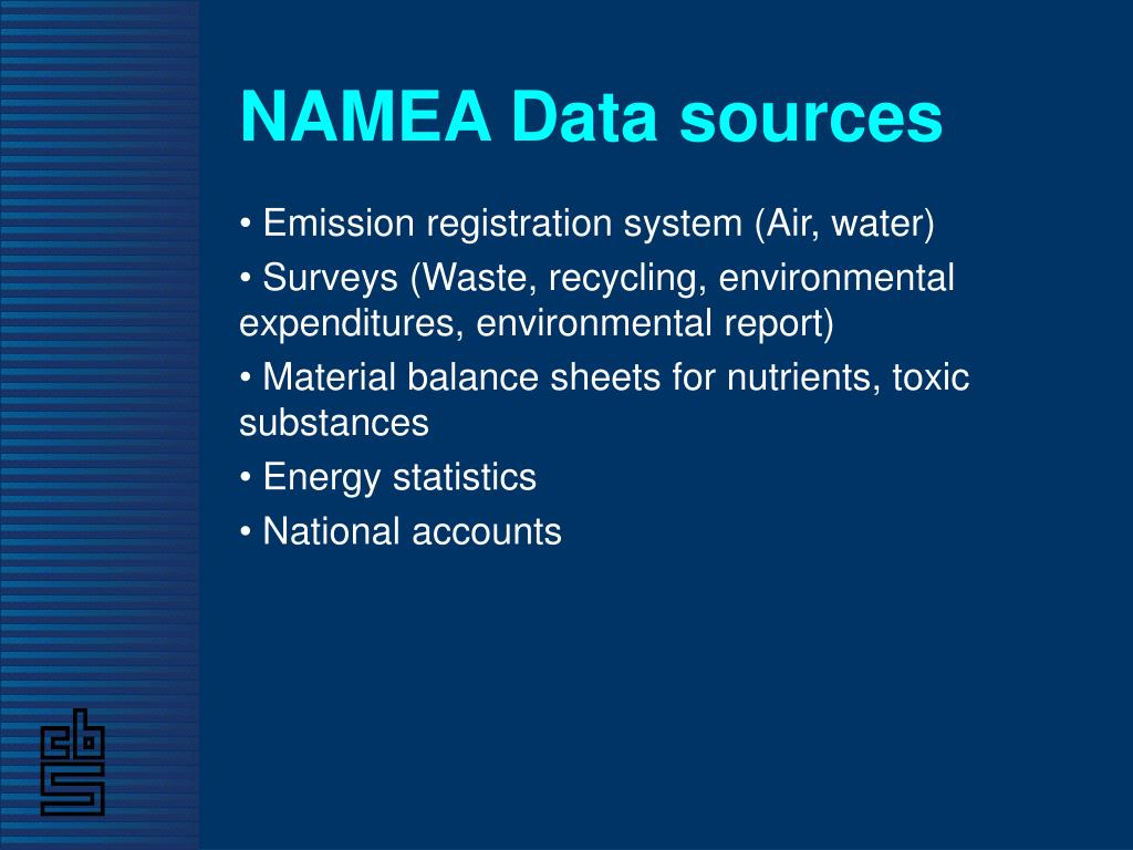 NAMEA Data sources