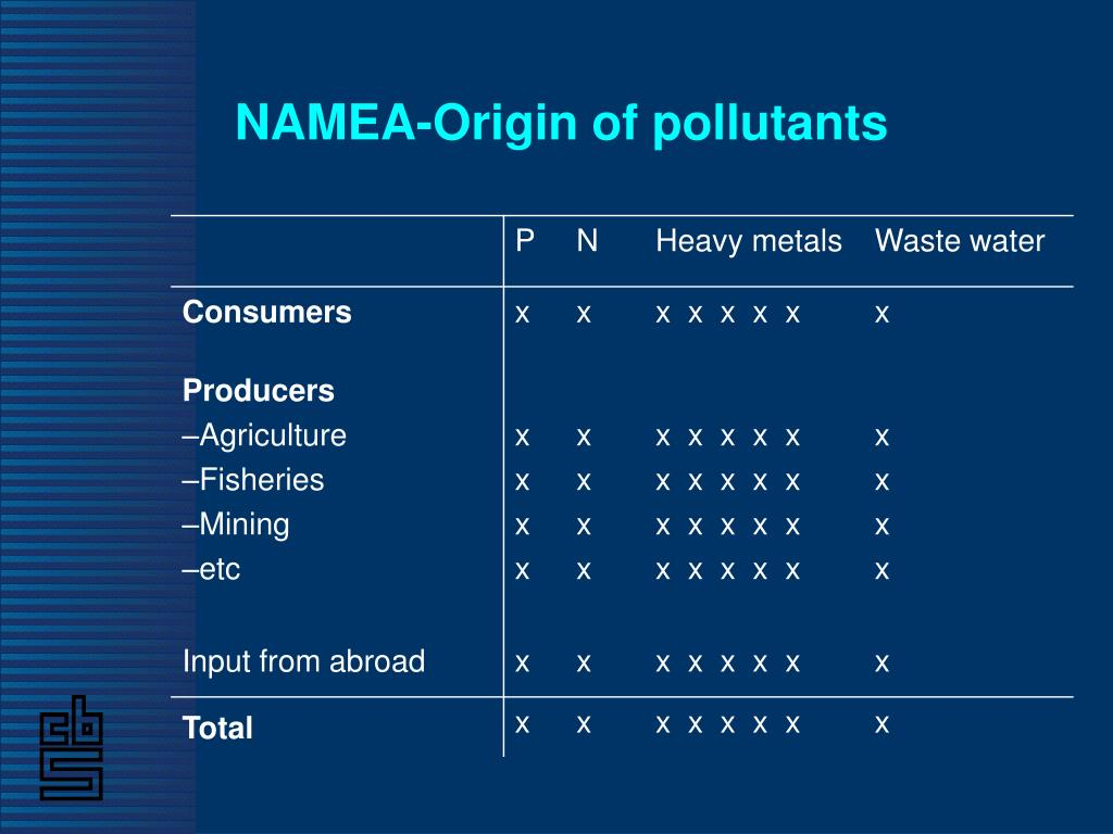 NAMEA-Origin of pollutants