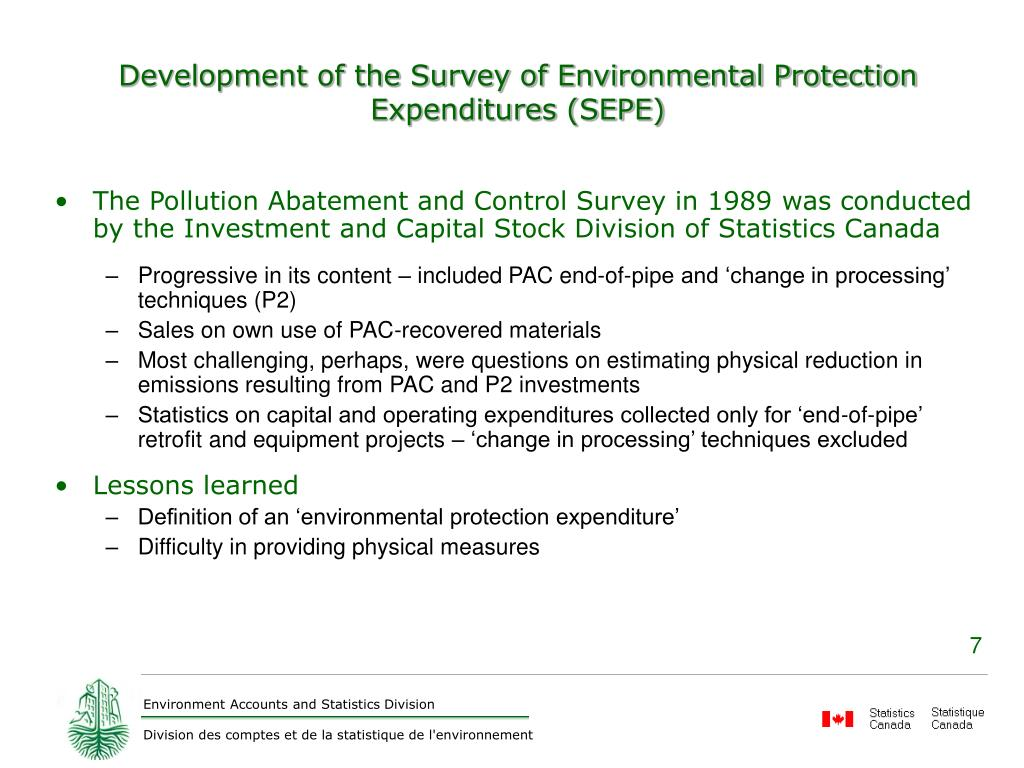 Development of the Survey of Environmental Protection Expenditures (SEPE)
