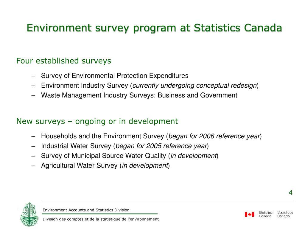 Environment survey program at Statistics Canada