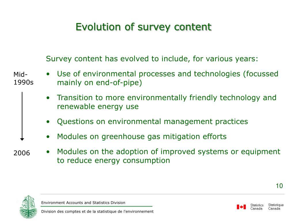 Evolution of survey content
