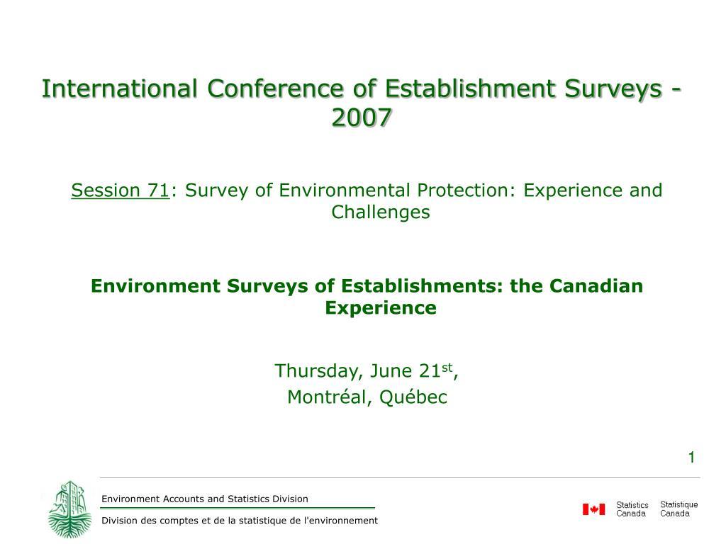 International Conference of Establishment Surveys - 2007