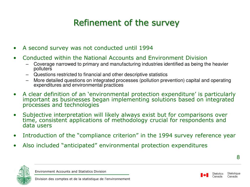 Refinement of the survey